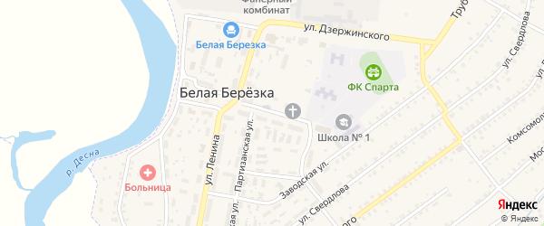 Улица Калинина на карте поселка Белой Березки с номерами домов