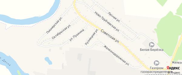Кузнецкая улица на карте поселка Белой Березки с номерами домов