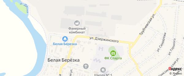 Улица Дзержинского на карте поселка Белой Березки с номерами домов