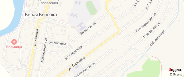 Улица Свердлова на карте поселка Белой Березки с номерами домов