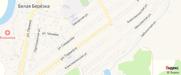 Улица Горького на карте поселка Белой Березки с номерами домов
