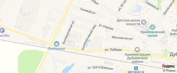 Кооперативный переулок на карте поселка Дубровки с номерами домов
