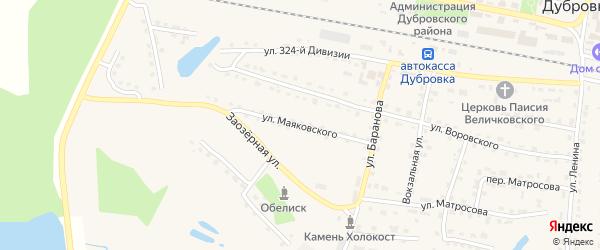 Улица Маяковского на карте поселка Дубровки с номерами домов