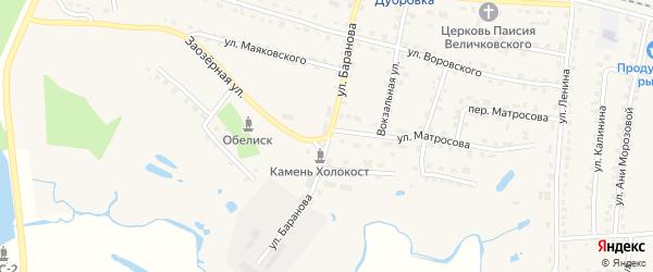 Улица Баранова на карте поселка Дубровки с номерами домов