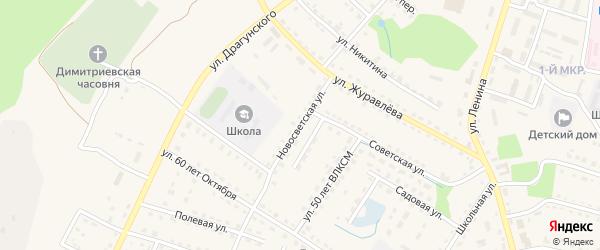 Новосветская улица на карте поселка Дубровки с номерами домов