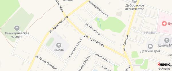 Улица Журавлева на карте поселка Дубровки с номерами домов
