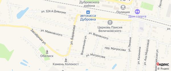 Вокзальная улица на карте поселка Дубровки с номерами домов