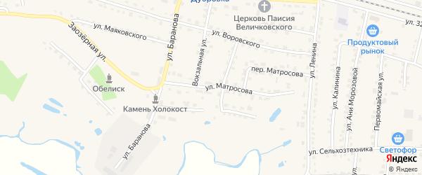 Улица Матросова на карте поселка Дубровки с номерами домов
