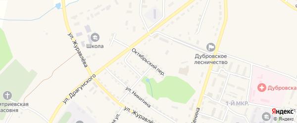 Октябрьский переулок на карте поселка Дубровки с номерами домов