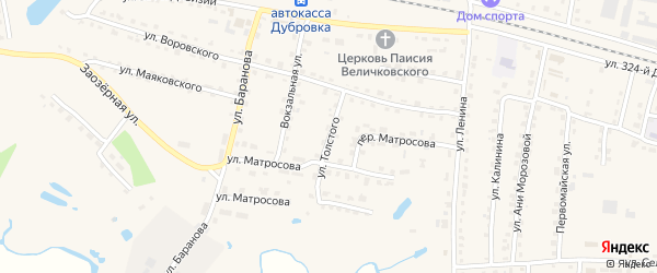 Улица Толстого на карте поселка Дубровки с номерами домов