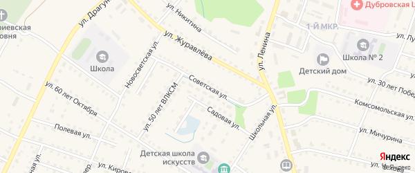 Советская улица на карте поселка Дубровки с номерами домов