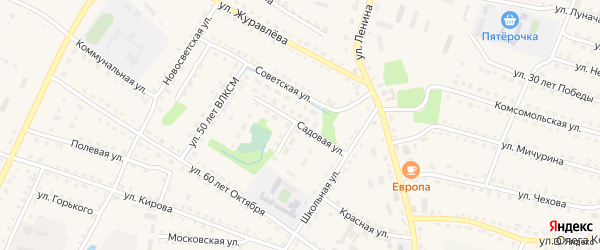 Садовая улица на карте поселка Дубровки с номерами домов