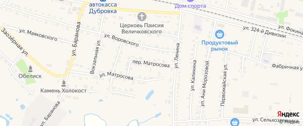 Переулок Матросова на карте поселка Дубровки с номерами домов