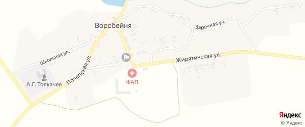 Центральная улица на карте села Воробейни с номерами домов