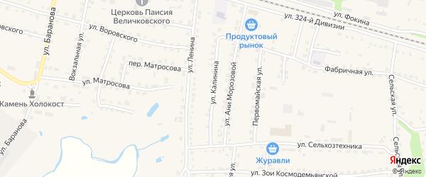 Улица Калинина на карте поселка Дубровки с номерами домов