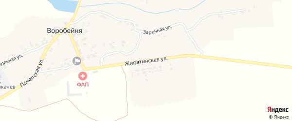 Жирятинская улица на карте села Воробейни с номерами домов