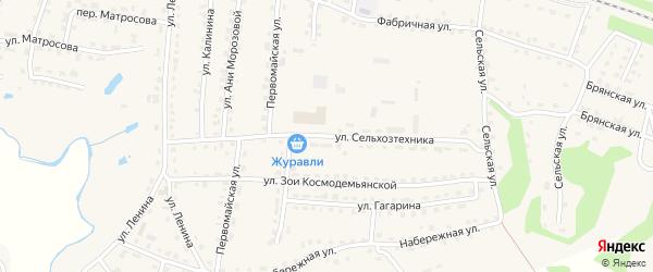 Улица Сельхозтехника на карте поселка Дубровки с номерами домов
