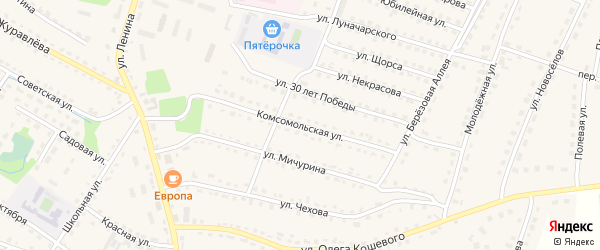 Комсомольская улица на карте поселка Дубровки с номерами домов