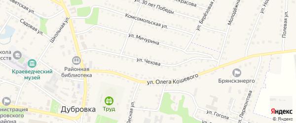 Улица Чехова на карте поселка Дубровки с номерами домов