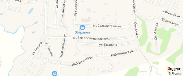Улица Зои Космодемьянской на карте поселка Дубровки с номерами домов