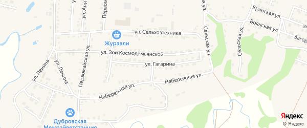 Улица Гагарина на карте поселка Дубровки с номерами домов