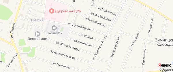 Улица Щорса на карте поселка Дубровки с номерами домов