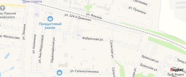 Фабричная улица на карте поселка Дубровки с номерами домов