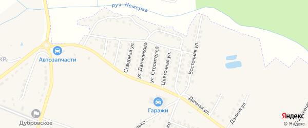 Улица Строителей на карте поселка Дубровки с номерами домов