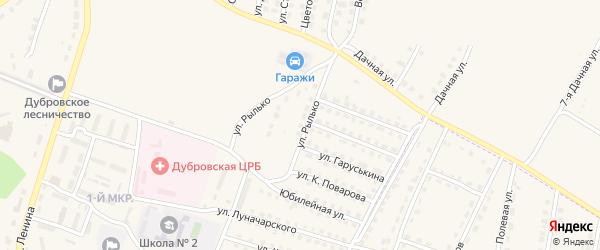 Территория Гаражи по улице Рылько Блок 2 на карте поселка Дубровки с номерами домов