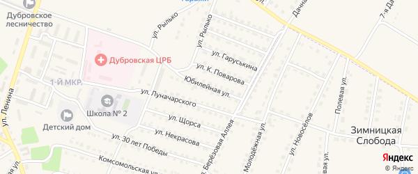 Юбилейная улица на карте поселка Дубровки с номерами домов
