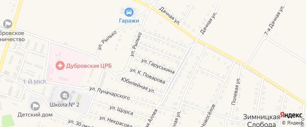 Улица Гаруськина на карте поселка Дубровки с номерами домов