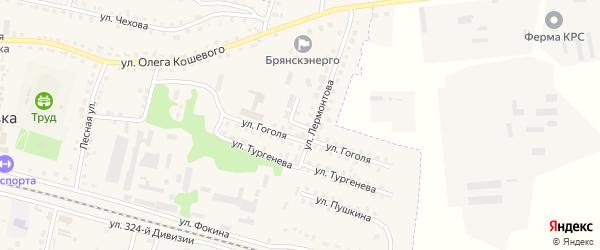 Переулок Лермонтова на карте поселка Дубровки с номерами домов