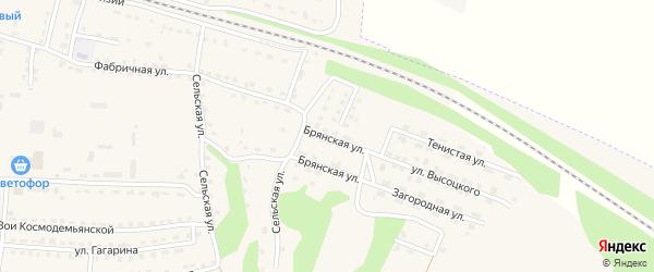 Брянская улица на карте поселка Дубровки с номерами домов