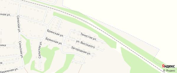Тенистая улица на карте поселка Дубровки с номерами домов