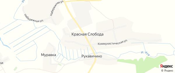 Карта села Красной Слободы в Брянской области с улицами и номерами домов