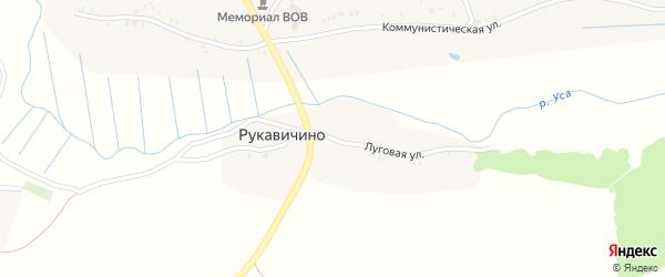 Луговая улица на карте деревни Рукавичино с номерами домов