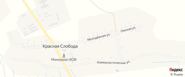 Молодежная улица на карте села Красной Слободы с номерами домов