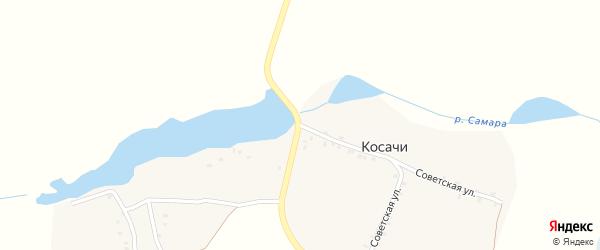 Советская улица на карте деревни Косачи с номерами домов