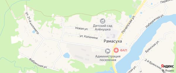 Улица Калинина на карте поселка Рамасуха с номерами домов