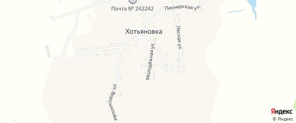 Молодежная улица на карте деревни Хотьяновки с номерами домов