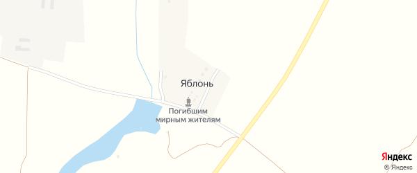 Шоссейная улица на карте деревни Яблонь с номерами домов