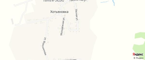 Почтовый переулок на карте деревни Хотьяновки с номерами домов