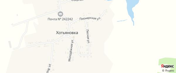 Лесная улица на карте деревни Хотьяновки с номерами домов