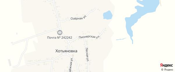 Пионерская улица на карте деревни Хотьяновки с номерами домов