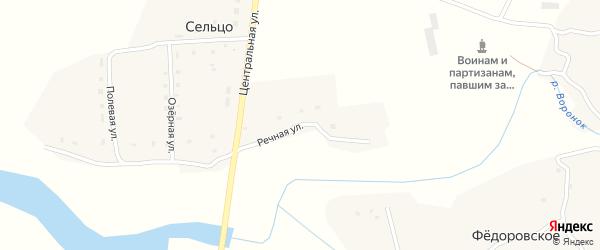 Речная улица на карте деревни Сельца с номерами домов