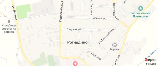 Садовый 1-й переулок на карте поселка Рогнедино с номерами домов