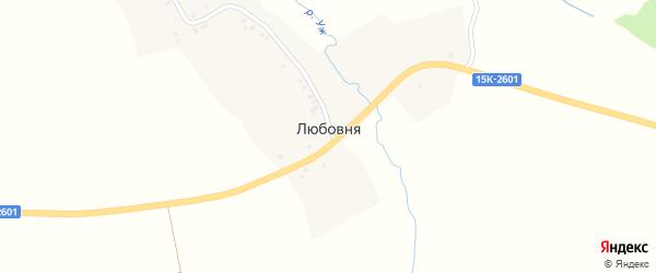Ленинградская улица на карте деревни Любовни с номерами домов