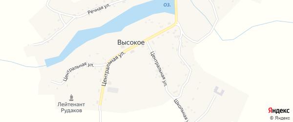Центральная улица на карте Высокого села с номерами домов