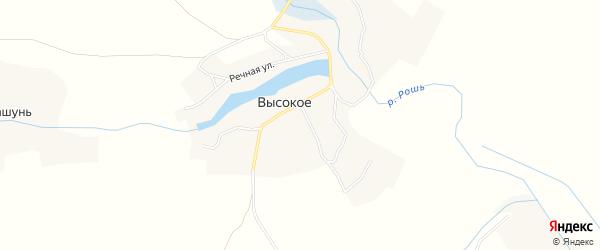 Карта Высокого села в Брянской области с улицами и номерами домов