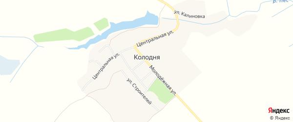 Карта деревни Колодни в Брянской области с улицами и номерами домов